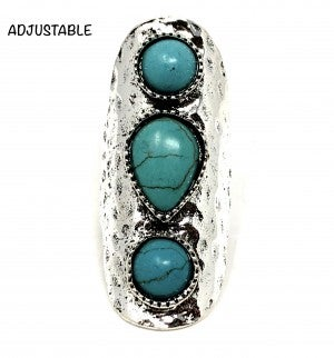 Adjustable Turquoise Triple Stone Ring