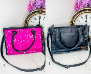 AMERICAN DARLING- Large pink and silver handbag with black leather