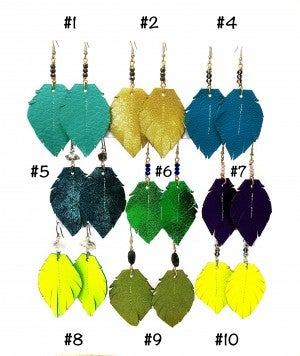 Emerge Small Feather Earrings with Stones