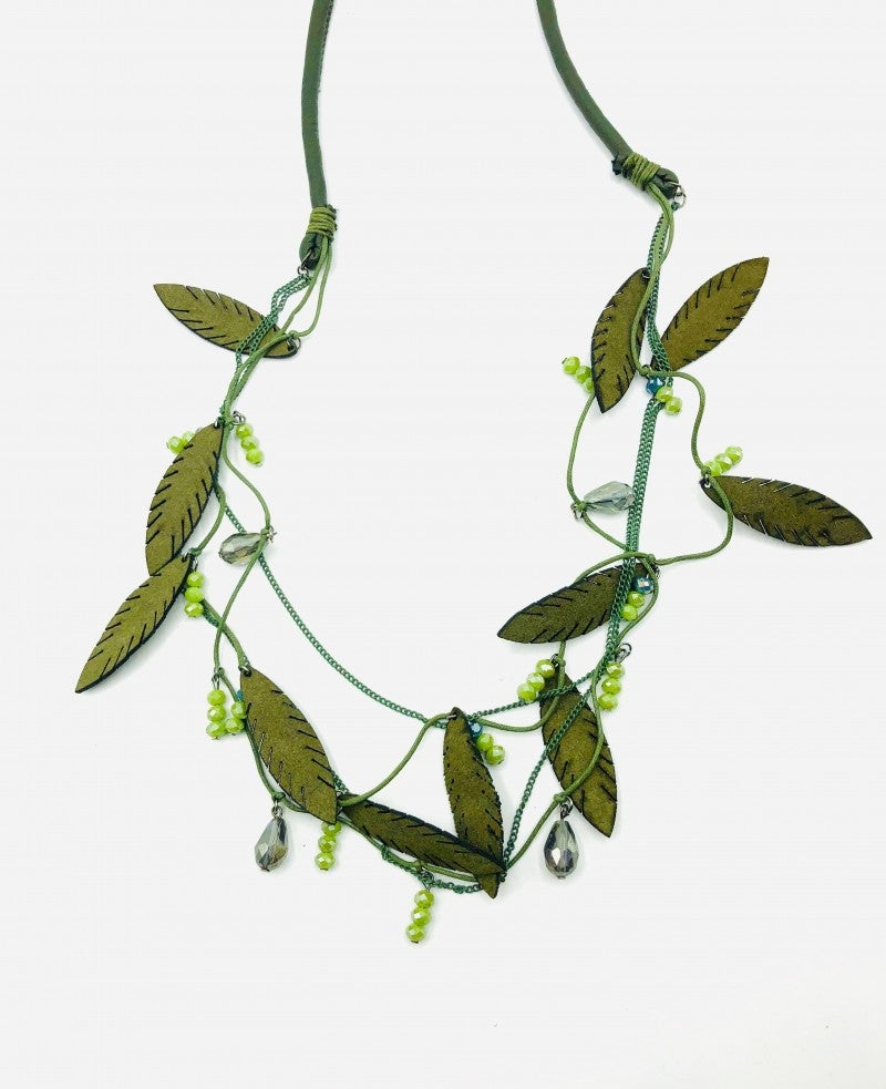 Green Leather Rope Necklace W/ Fun Leaf and Bead Charms