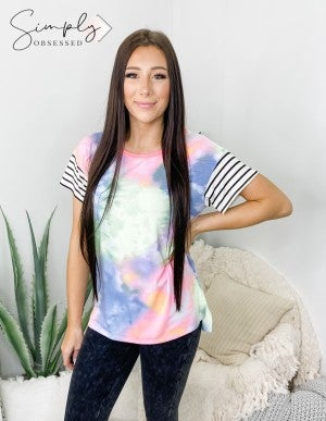 Honeyme - Stipe short sleeve detail tie dye top(plus)