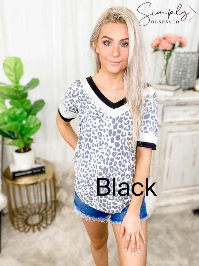 BIBI-Leopard Print Soft Knit Top With Contrast Block