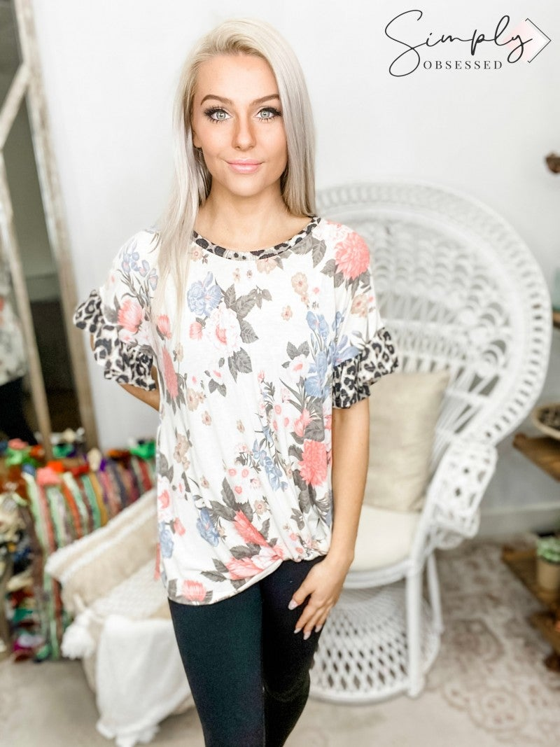 Lovely Melody-Ruffled Drop Shoulder Knotted Floral Tunic Top