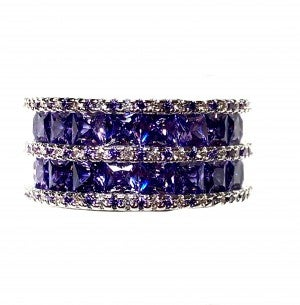 Double Layered Purple Square Ring