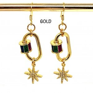 Lock Earring with Colored Baguettes and Star Dangle