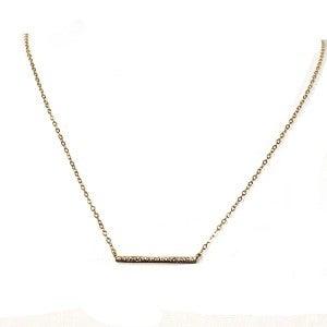 Frolick Gold Pave Crystal Bar Necklace