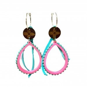 LV Up-Cycled Teal and Pink Tear Drop Earrings