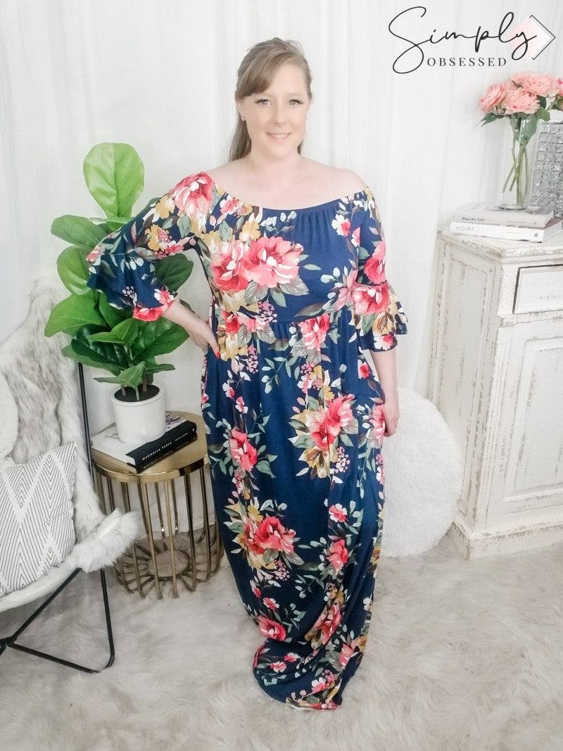 SWEET LOVELY-Floral Off Shoulder Maxi Dress