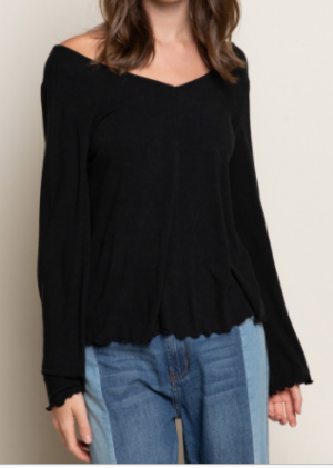 Pol - Long bell sleeve low v neck knit top