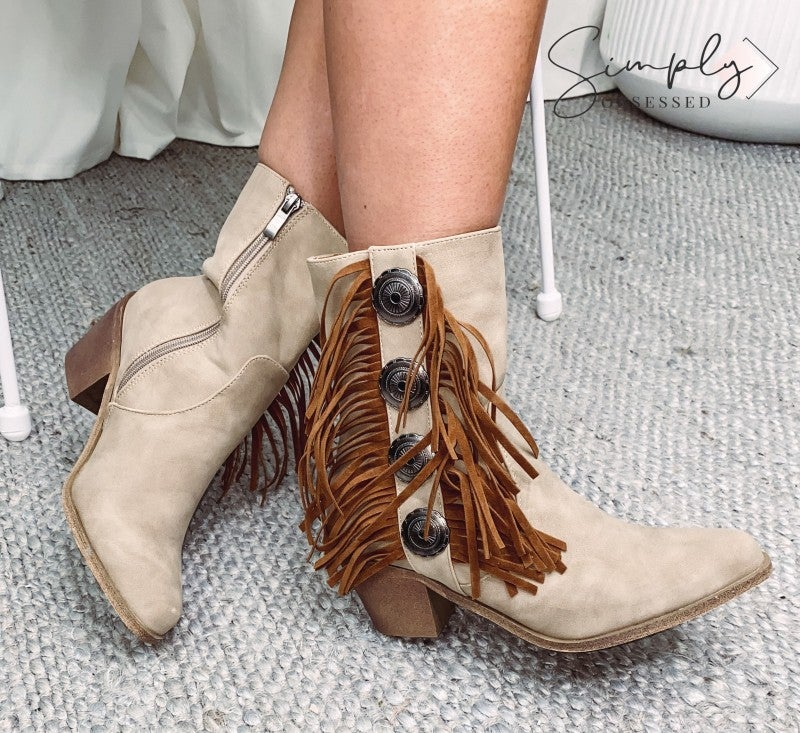 Lucky and Blessed - Solid ankle booties with fringe concho and zipper