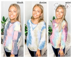 Bibi - Tie dye print french terry pull over top