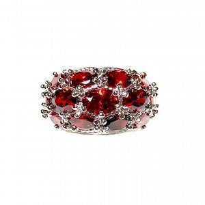 Silver and Oval Ruby Trio Ring