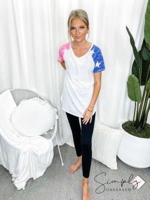 Honeyme - Star print short sleeve knit top