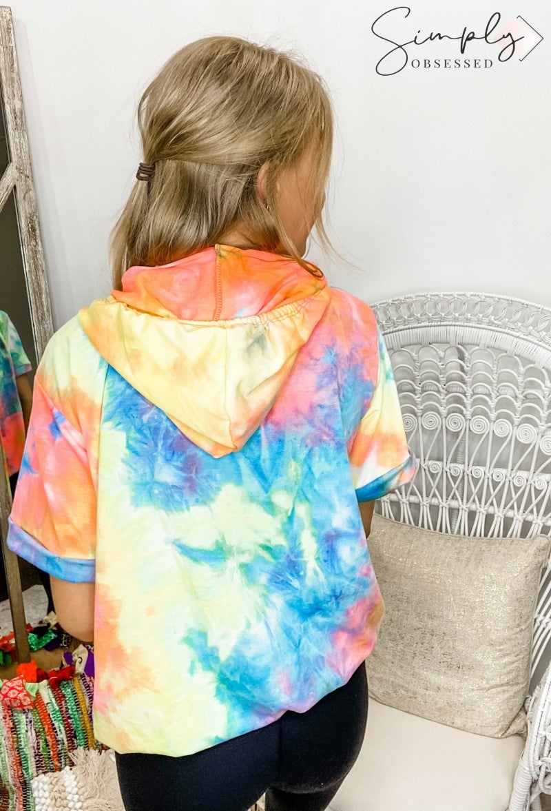 First Love - Tie dye hooded top with drawstrings, short sleeves and kangaroo pocket