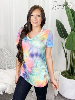 Honeyme - Tie dye print short sleeve v neck top(plus)