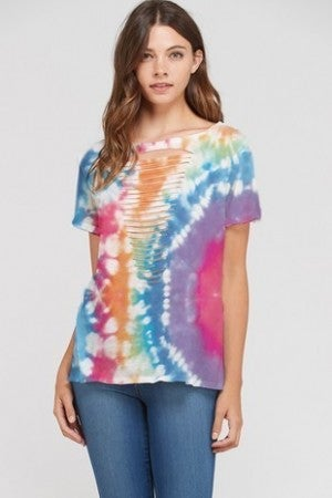 PHIL LOVE-Colorful Tie Dye Laser Cut Short Sleeve Top
