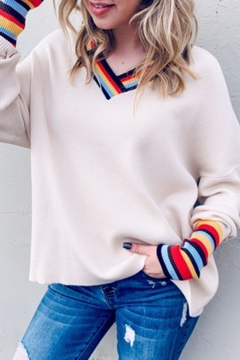 AND THE WHY-Rainbow Multi Detail Sleeve V-Neck Casual Sweater Top