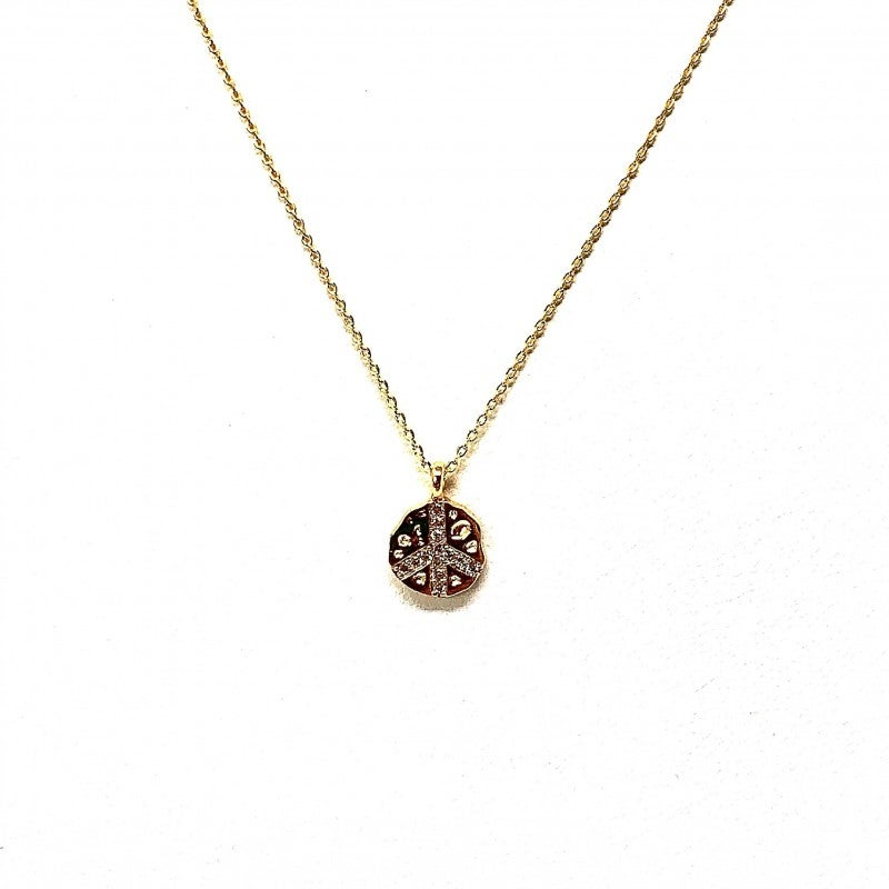 CZ and Gold Peace Sign Choker Length Necklace