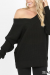 Long sleeve wide double v neck waffle sweater