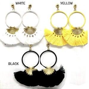 Bohemian Hoop Earrings with Fan Tassle