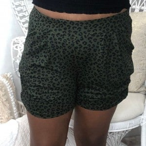 White Birch - Animal print pocket detail shorts