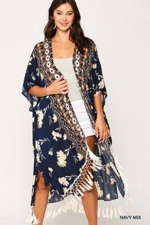 GIGIO-Fringe Trim Waist Tie Side Slit Kimono