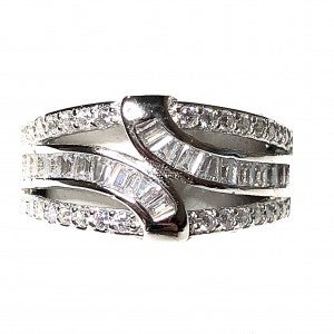 Triple Layered Baguette and CZ Designed Ring