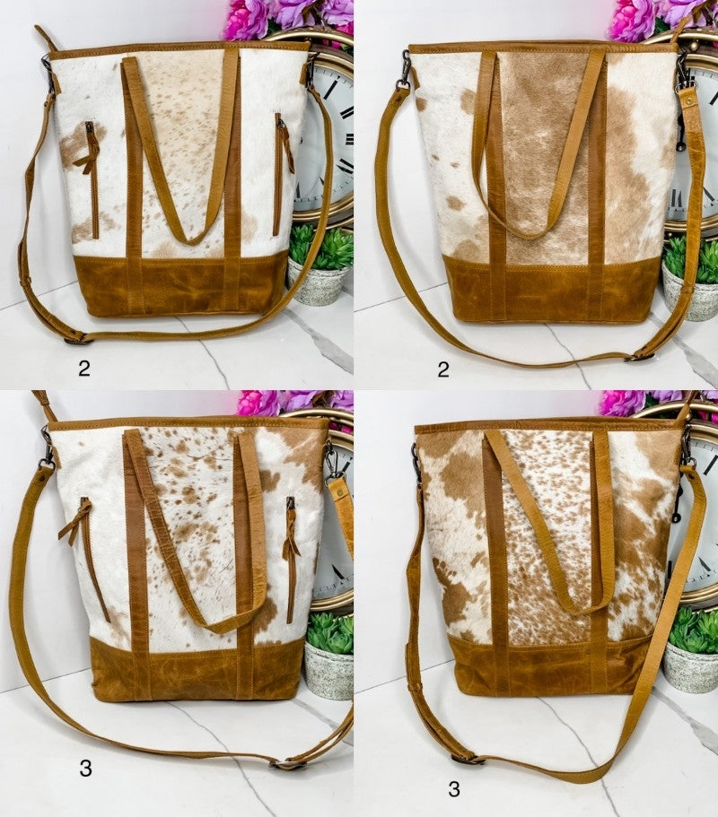 AMERICAN DARLING-LARGE PURSE WITH COWHIDE DETAIL