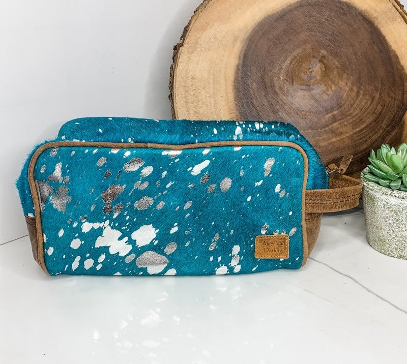 AMERICAN DARLING-Small turquoise handbag with leather