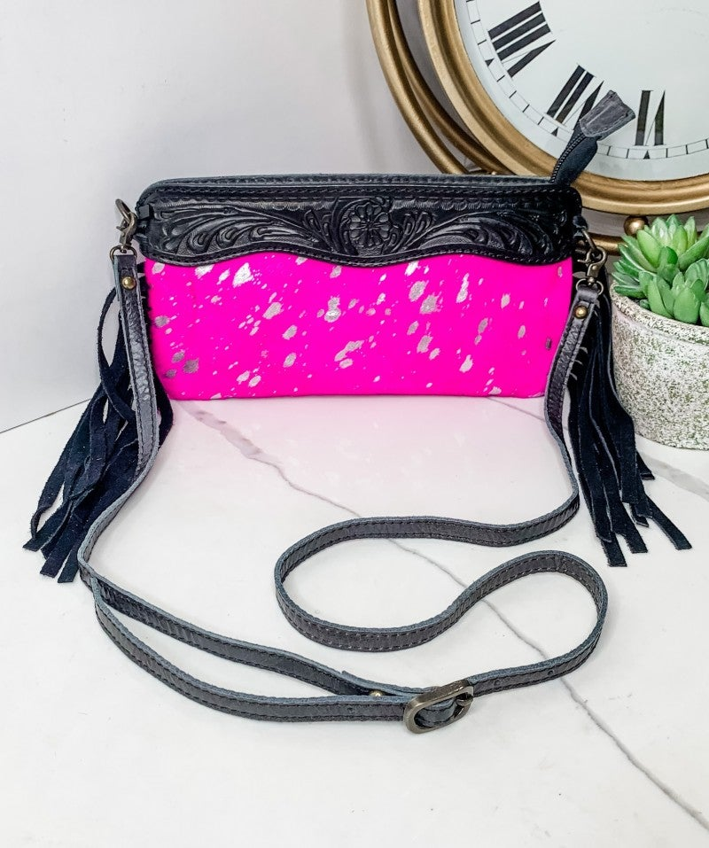 AMERICAN DARLING-SMALL PINK PURSE WITH LEATHER WORK AND ACID WASH