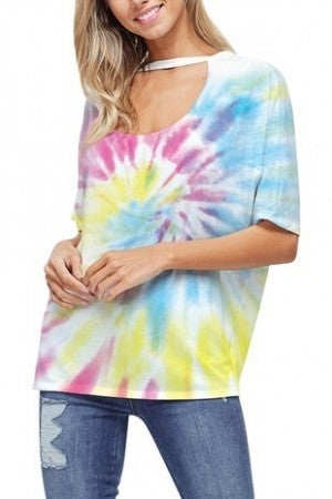 PHIL LOVE-TIE DYE PRINT CHOKER NECK TOP
