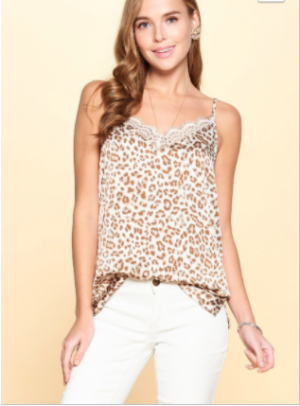Oddi - Leopard Print Spaghetti Strap satin cami w/ eyelash lace v neckline