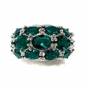 Chunky Silver Ring w/ Green Stones outlined CZ