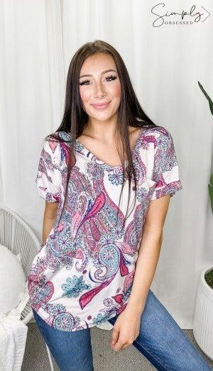 Sew In Love - Short sleeve v neck pocket detail top(plus)