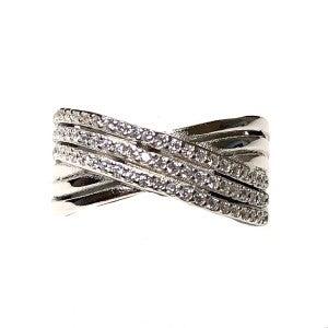 Silver CZ Crystal Criss Cross Ring