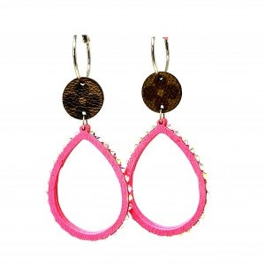 LV Up-Cycled Hot Pink Teardrop Hoops w/Jewel Details