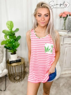 HONEY ME-Neon Striped Tank With Oregon Palm Trees on Pocket and Trim