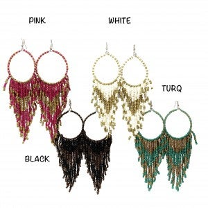 Handmade Beaded Tassel Hoop Earrings