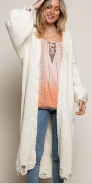 Pol - Balloon sleeve distressed detail cardigan