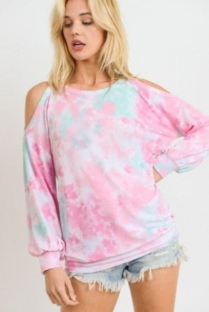 FIRST LOVE-Tie Dye Top With Round Neckline And Cold Shoulders