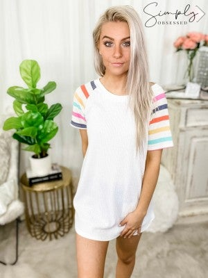 Honeyme - Round neck short sleeve knit top(plus)