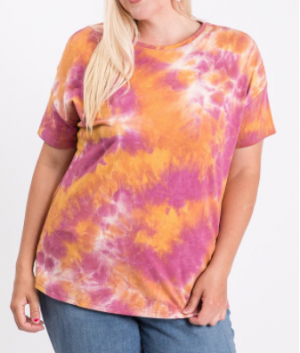 Hailey & Co - Round neck tie dye short sleeve top(plus)