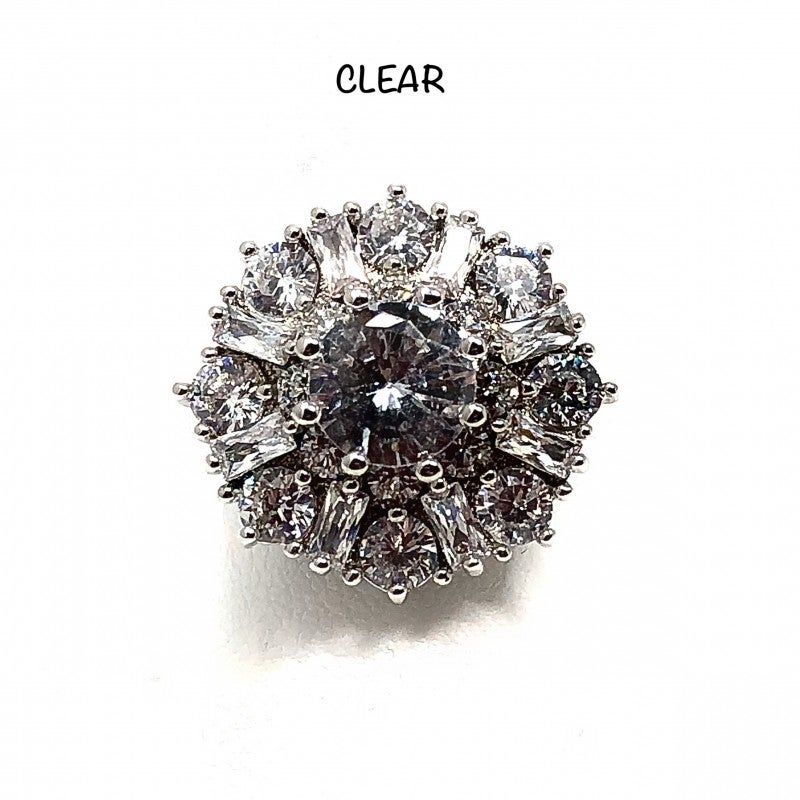 Chunky Floral CZ Baguette Ring
