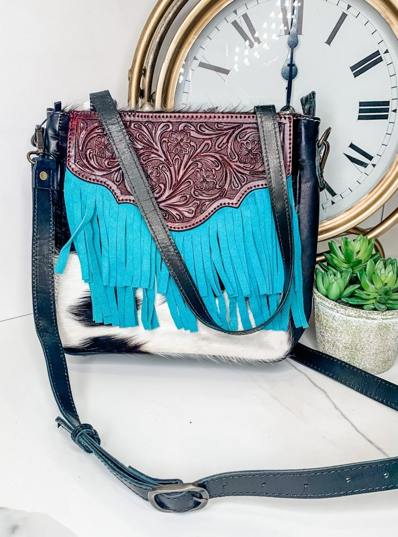 American Darling - Genuine Leather and Hide Handbag w/ Aqua Tassels and Brown Floral Design