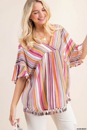 KORI AMERICA-Multi Stripe Cinkle Gauze With Tassel Top