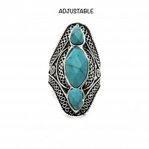 Three Stone Turquoise Ring w/ Hammered Band