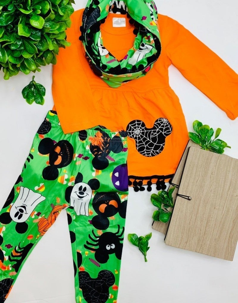 Halloween themed kids scarf set
