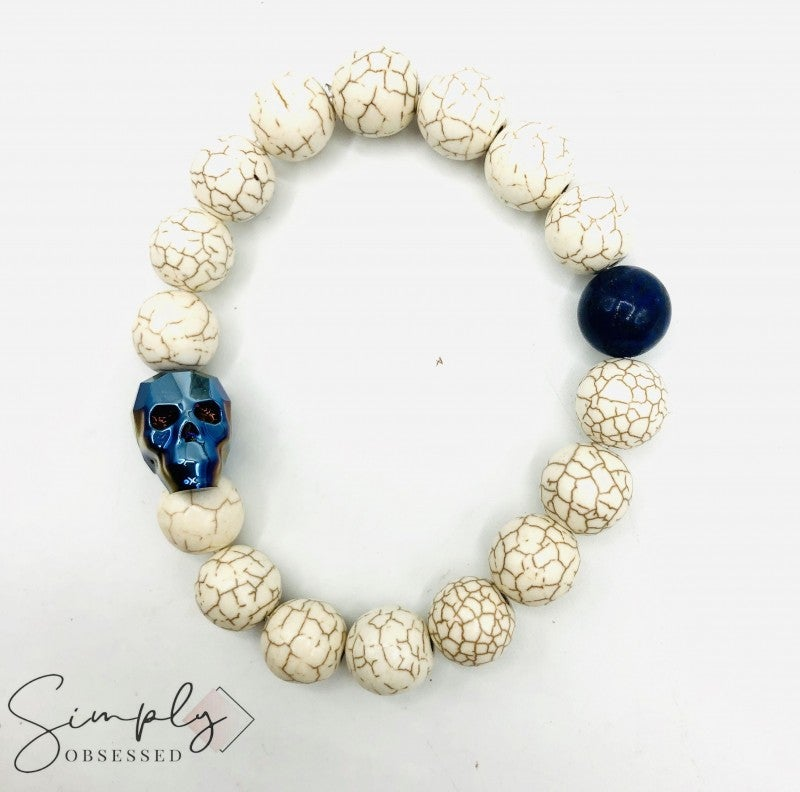 Swarovski Skull with Magnesite and Lapis Lazuli Stones Beaded Bracelet (12mm)