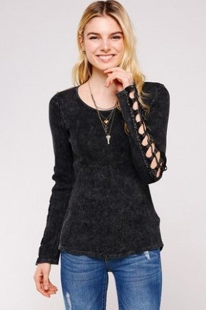 URBAN X-Round Neck Long Sleeve Mineral Washed Thermal Top