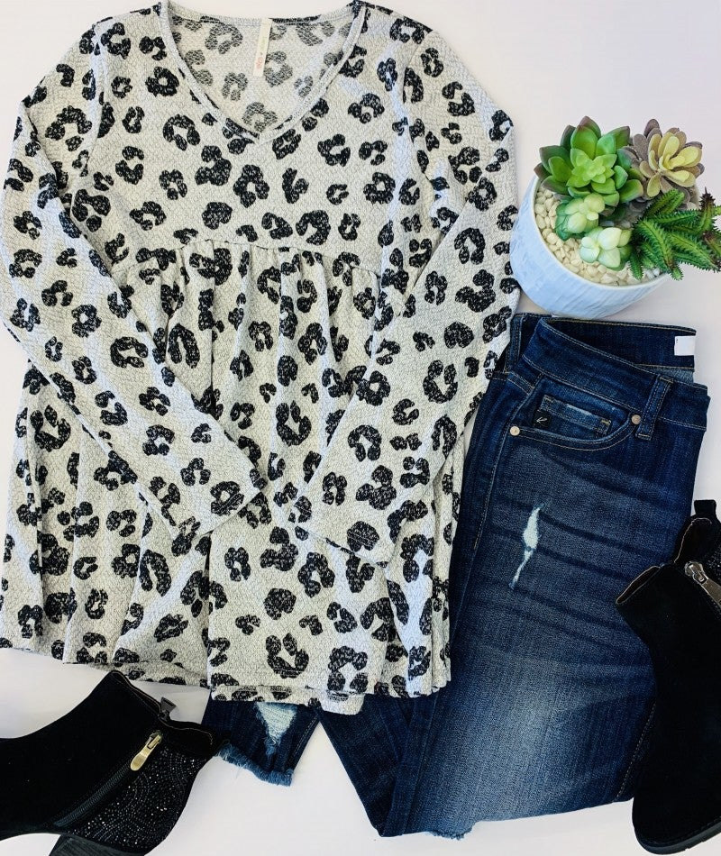 Lime N Chili- Animal print sweater knit v neck babyboll top
